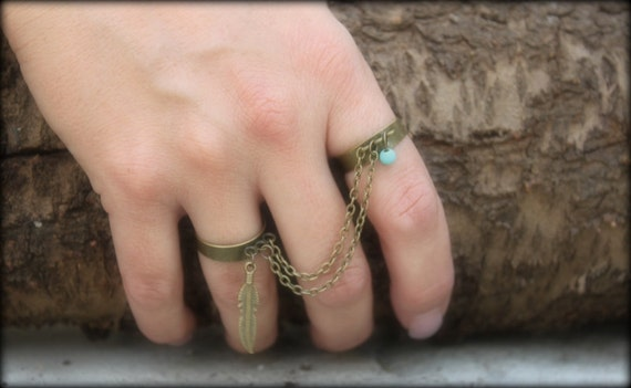 Two Bronze Finger Ring chain drape,Turquoise&Feather Charm Bohemianvintage Hippie Gypsy Southwestern Slave ring handmade by Inali