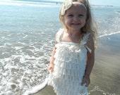 Vintage Ivory Lace Petti Dress and Headband Set, Baby Girl Dress, Newborn Dress, Flower Girl Dress, Baptism Dress, Special Occasion, Girls