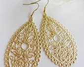 Gold Chandelier Earrings, Small Oval Filigree Teardrop, Scalloped Edge, Modern, Everyday