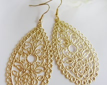 Gold Chandelier Earrings, Small Oval Filigree Teardrop, Scalloped Edge, Modern, Everyday