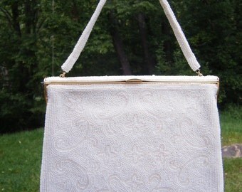 Vintage 1950's White Beaded Purse Lovely Design