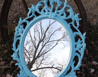 Oval  Mirror ,Ornate Mirror, Shabby Chic Mirror,Shown in Light Aqua , or Choose  Color, Nursery,Sign,Salon, Size 33 1/2 x 23 1/2