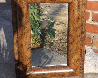 Wall mirror,  Chunky Thick Frame, Shown in a Distressed Finish, Hollywood Regency Decor, Size 20 1/2 x 15