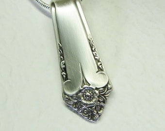 Spoon Necklace, Spoon Handle Pendant, 'Starlight' 1950, Silverware Jewelry