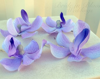 Wedding hair accessories Lavender orchid bobby pins set of 4 Bridal hair flowers