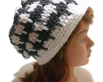 Houndstooth Hat, Slouchy Hat, Geometric Beanie, Charcoal and White Hat, Hipster Tam, Tam Hat, Modern Beret, Houndstooth Tam