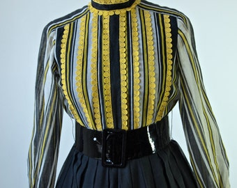 60's Mod Howard Wolf Yellow and Black Striped Victorian Style Full Skirt Dress with Belt