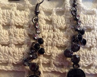 Black and Gray Crystal Dangle Earrings