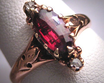 Antique Garnet Diamond Ring Victorian Rose Gold Wedding