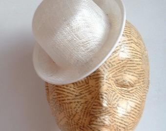 Sinamay Mini Hat - Bowler- White