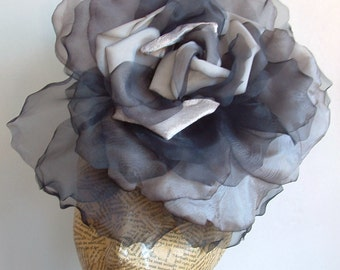 SALE Extra Large Rose -  Black and Grey WAS 50.00 NOW 40.00