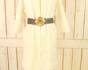 Ivory sweater coat/knit cardigan sweater/vintage knit sweater