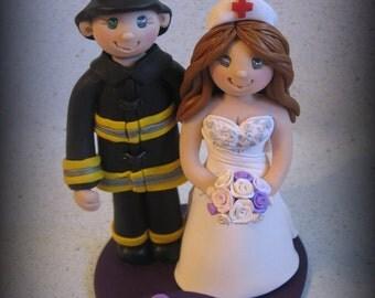 Wedding Cake Topper, Custom Cake Topper, Firefighter, Nurse, Bride and Fireman, Polymer Clay, Personalized, Wedding Keepsake