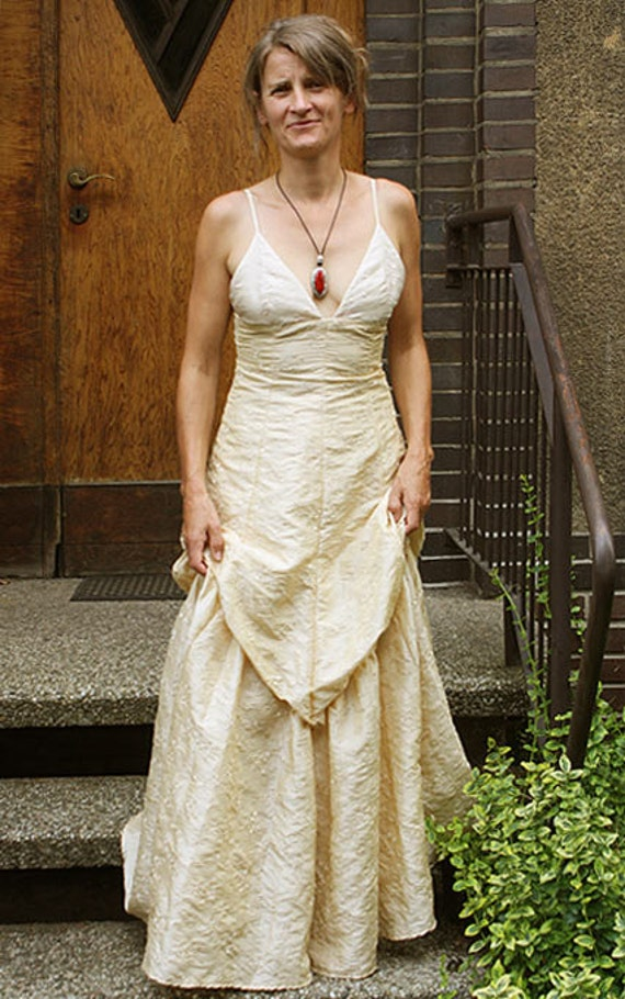 cream and gold wedding dress ivory gold wedding dress laced by greenhousegallery 3169