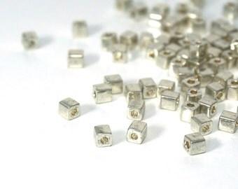 silver glass, 4mm cube beads, metallic Miyuki cubes, 200 beads (807SB)