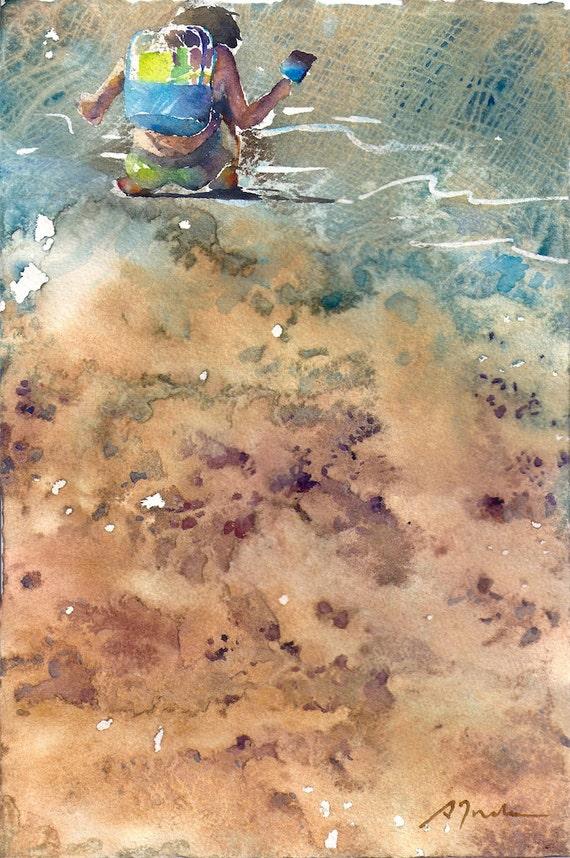 Figura No.2, edición limitada de 50 bellas arte giclee imprime desde mi Acuarela original