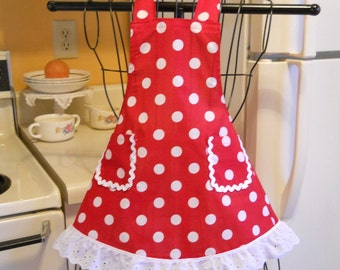 Little Girls Retro Full Apron in Red Polka Dots MADE TO ORDER
