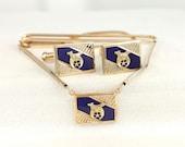 Shriner Cufflinks & Tie Bar / Chain - Vintage Gold