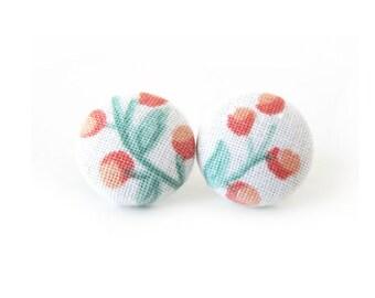White post earrings - small stud earrings - orange flower fabric earrings - pastel wedding - gift for her