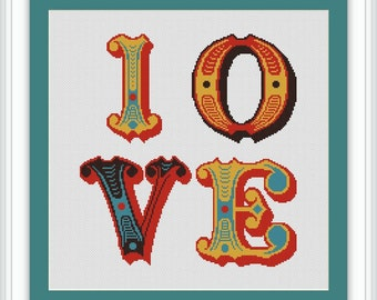 Instant Download,Free shipping,Cross stitch pattern, Cross-StitchPDF,Vintage Love  design ,zxxc0419