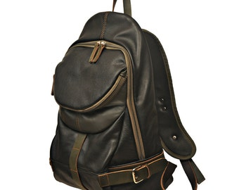 Handcrafted leather backpack, Nota in black with olive green details. MADE TO ORDER