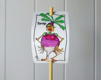 Vegetable Marker Turnip for Gardens Decor Healthy Living Aluminum Sign Whimsical Art