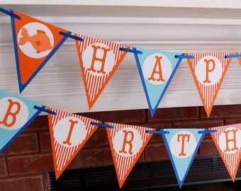 Goldfish Birthday Banner O'FISHial Birthday Banner 1st Birthday Party Decoration Under the Sea Birthday Sign Orange & Blue READY TO SHiP