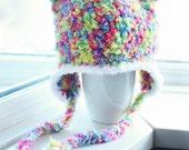 SALE 12 to 24m Toddler Bear Earflap Hat Crochet Rainbow Beanie, Earflap Bear Hat, Bear Baby Hat, Baby Bear Beanie Rainbow Prop Costume