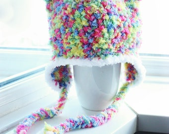 6 to 12m Rainbow Bear Hat, Bear Baby Hat, Bear Earflap Beanie, Crochet Baby Hat, Baby Bear Prop, Rainbow Earflap Hat Photo Prop Gift