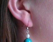 Turquoise and Fresh Water Pearl Dangle Earrings
