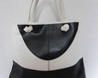 Mod Black & White Vintage Handbag, Color Block, Geometric Bag, Purse
