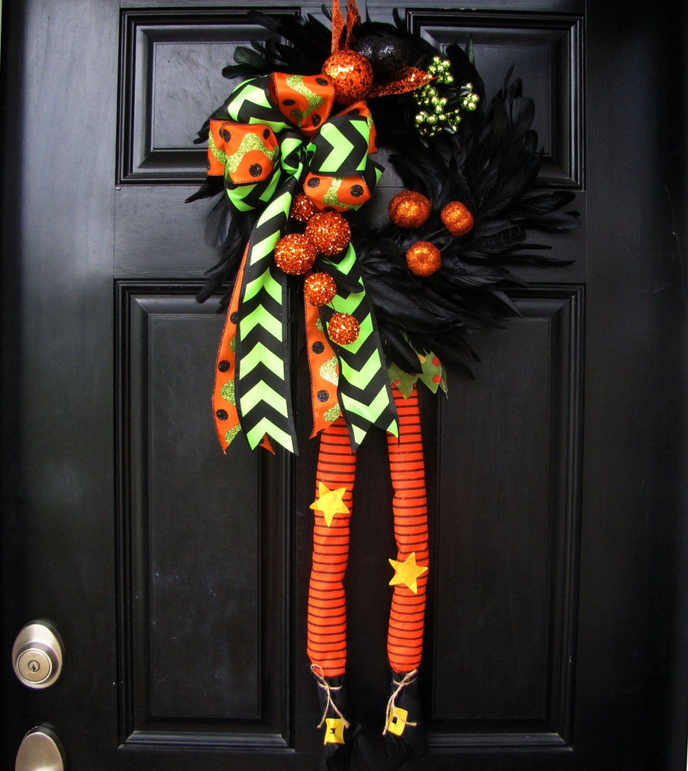 chevron bow halloween feather wreath with dangling witch legs