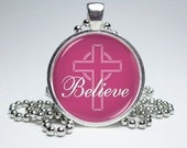Believe Cross Dome Necklace by MissTanDesigns on Etsy