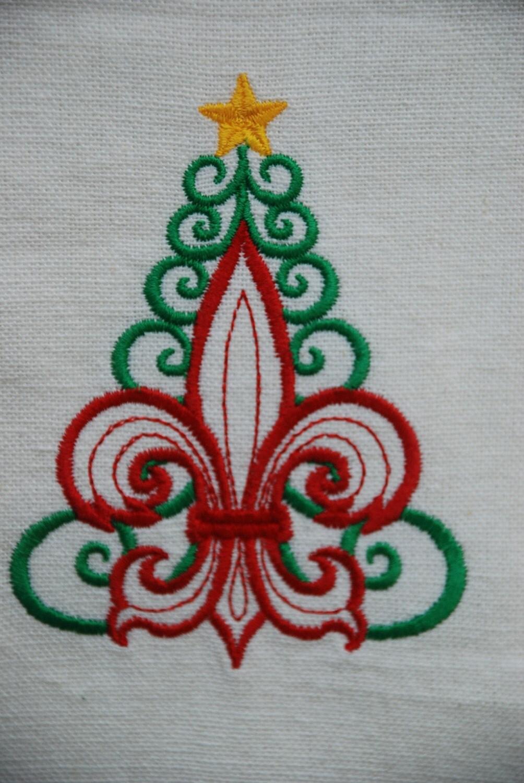 Fleur de lis christmas tree machine embroidered towel