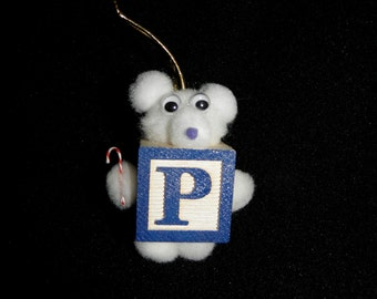 Letter P Teddy Bear Block Ornament For Present Tags Hanging Wooden Block