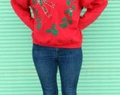 UGLY CHRISTMAS SWEATER - Mistletoe Glitter Puff Paint Hand Decorated Unisex Holiday Sweater