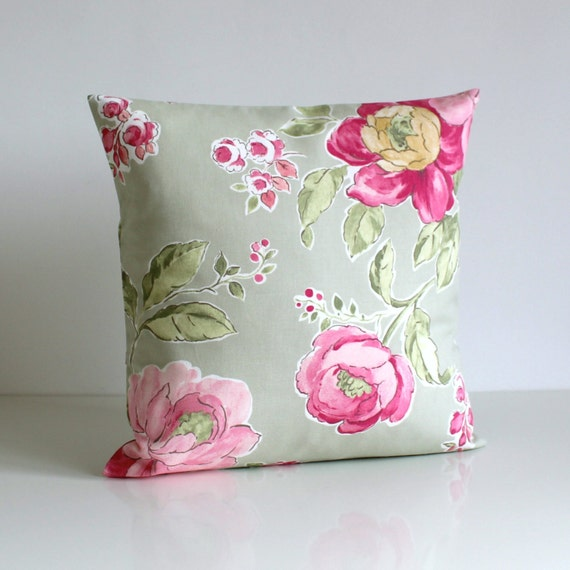 Country Pillow Cover - Shabby Chic Cushion Cover - Flower Pillow Sham - 16 Inch - 16x16 - Bloomington Sage