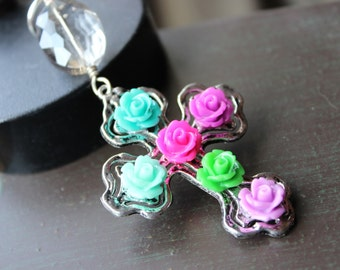 Rose Cross Pendant
