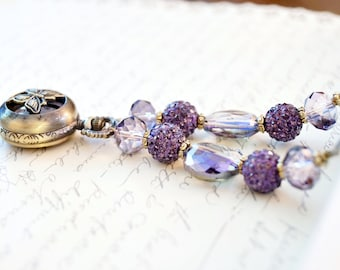 Purple Butterfly Pocket Watch Necklace, Feminine Steampunk Necklace