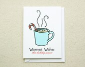 CLEARANCE Hot Cocoa Christmas Candy Cane Note Card