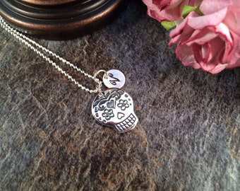 Sugar Skull Necklace, Mexican Sugar Skull Necklace, Initial Necklace, Day of The Dead Necklace, Sterling Silver Necklace