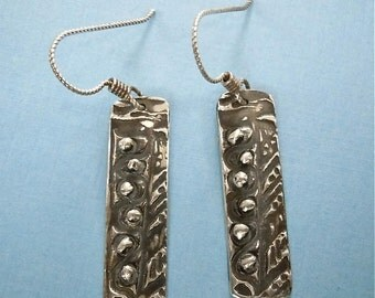 Artisan Fine Silver Earrings - PMC Earrings - Silver Rose Hip Rectangles