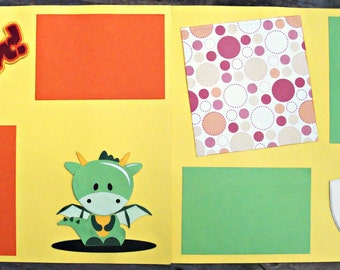 Rawr Dragon Scrapbook Page Kit Double Page Layout 12x12 Scrapbook Pages