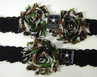 Army Wedding Garter Set Brown or Black Stretch Lace with Camouflage Print Flowers