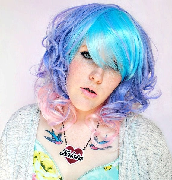 SALE Pastel wig, pink wig, purple wig // Hipster Boho Indie Scene wig // Purple Blue Pink Hair | Frosted Dream