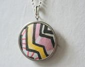 Love Story No.1 // Geometric Chevron Pendant, Silver Framed Textile Necklace, Original Pattern, Designer Fabric, Boho, Tribal, OOAK, Arrows