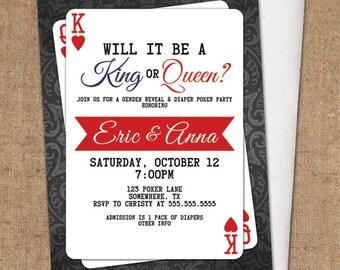 Gender Reveal Invitation - DIY Printable - Poker Party