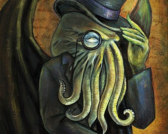 "Dapper Cthulhu Art Print - 8.5"" x 11"" HP Lovecraft Illustration"