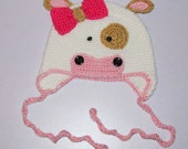Girls Pink Cow Hat, Cow Hat, Girl's Farm Hat, Cute Cowgirl Hat