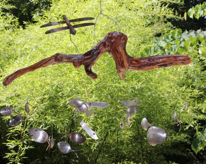 Driftwood And Dragonfly, Spoon Fish Wind Chimes, Number 37,flatware Windchime, Front Porch Decor, Extra Large Metal, Silverplated Spoon, Sta